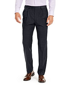Men's Wool Blend Classic-Fit UltraFlex Stretch Double-Reverse Pleated Dress Pants