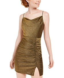 Juniors' Metallic Ruched Slip Dress