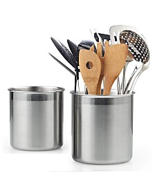 Cook N Home 02639, Stainless Steel Utensil Holder Jumbo 2-Piecec Set