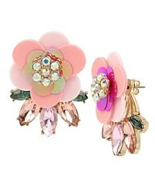 Betsey Johnson Flower Stone Cluster Front Back Earrings
