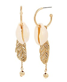 BCBGeneration Shell & Feather Charm Hoop Earrings