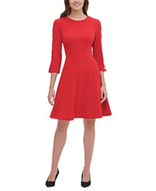 Tommy Hilfiger Snap-Detail Fit & Flare Dress