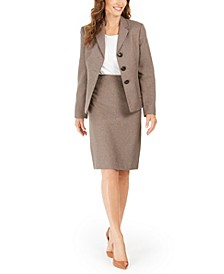 Triple-Button Skirt Suit