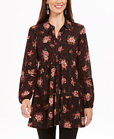 Style & Co Printed Mesh Tiered Shirt, Created For Macy's