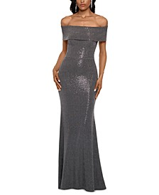 Petite Off-The-Shoulder Metallic-Finish Gown