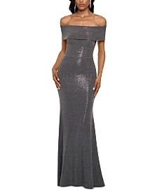 Betsy & Adam Petite Off-The-Shoulder Metallic-Finish Gown