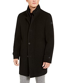 Men's Slim-Fit Black Heated Overcoat