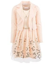 Big Girls Plus Size 3-Pc. Moto Jacket, Necklace & Sequined Babydoll Dress Set