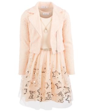 Beautees Big Girls 3-Pc. Moto Jacket, Necklace & Sequined Babydoll Dress Set