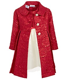 Blueberi Boulevard Toddler Girls 2-Pc. Brocade Coat & Dress Set