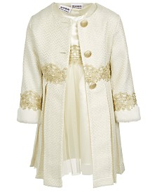 Blueberi Boulevard Little Girls 2-Pc. Tweed Baroque Coat & Dress Set