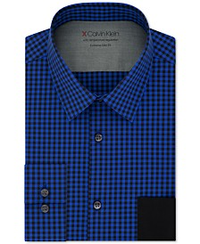 Calvin Klein Men's Extra Slim-Fit Performance Stretch Temperature Regulating Check Dress Shirt