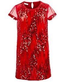 Big Girls Sequined Velvet Shift Dress