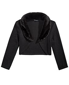 Big Girls Faux-Fur-Trim Cardigan