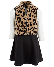 Big Girls 2-Pc. Cheetah-Print Fleece Vest & Colorblocked Dress Set