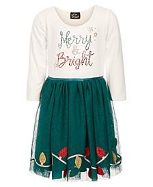 Little Girls Merry & Bright Embellished Dress