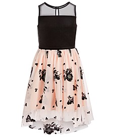Big Girls Velvet Flocked Illusion Dress