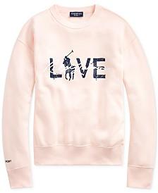 Polo Ralph Lauren Women's Pink Pony Fleece Sweatshirt