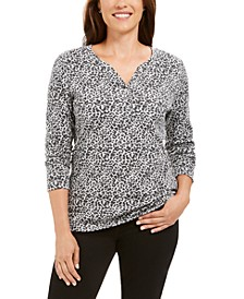 Leopard-Print Split-Neck Henley Top, Created For Macy's