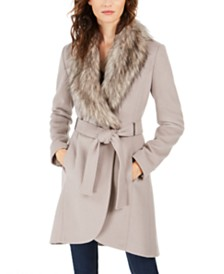 Calvin Klein Faux-Fur-Collar Wrap Coat