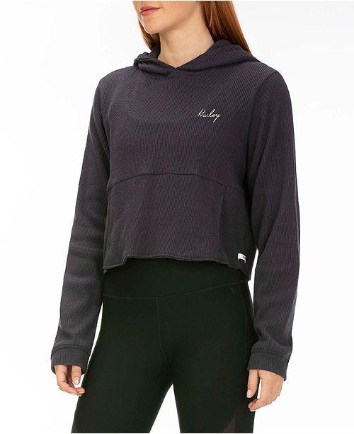 Hurley Chill Rib Fleece Crop Pullover Hoodie