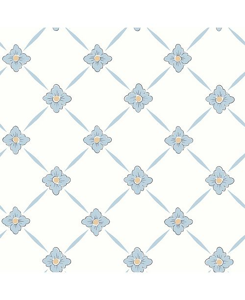 "Wall Vision 21"" x 396"" Line Light Geometric Floral Wallpaper"