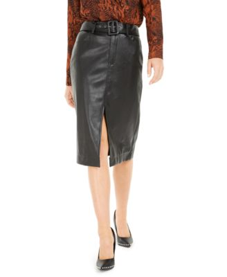 Becca Tilley x Faux Leather Belted Slit Skirt, Created For Macy's