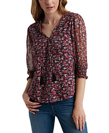 Lucky Brand Floral-Print 3/4-Sleeve Top