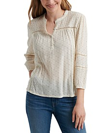 Lace-Inset Cotton Peasant Top