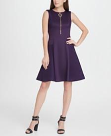 DKNY Scuba Mesh Combo Zipper Fit  Flare Dress