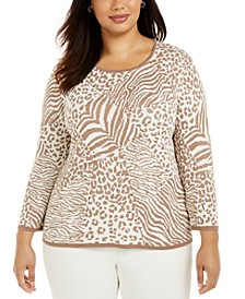 Plus Size First Frost Animal-Print Sweater