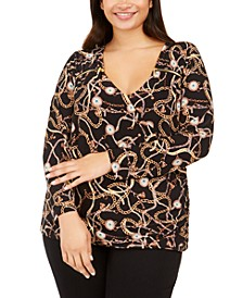 INC Plus Size Printed Zip Surplice Blouse, Created For Macy's