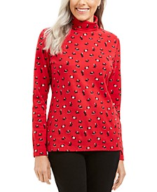 Long Sleeve Turtleneck Printed Top, Created for Macy's
