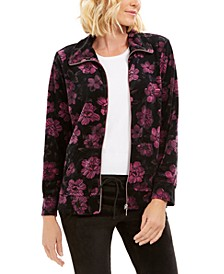 Petite Floral-Print Zip-Front Jacket, Created For Macy's