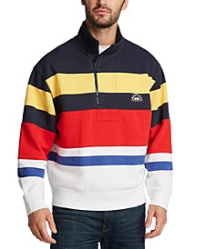 Men's Stand-Collar Quarter-Zip Stripe Sweatshirt