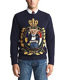 폴로 랄프로렌 Polo Ralph Lauren Mens Royal Bear Wool Blend Sweater,Navy Crest Bear