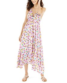 Floral Halter Maxi Swim Cover-Up Dress