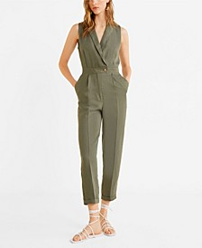 Long Linen-Blend Jumpsuit