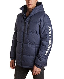 Men's Puffer Jacket with Faux Sherpa Lined Hood