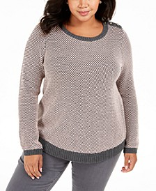 Plus Size Button-Trim Contrast-Accent Sweater, Created For Macy's