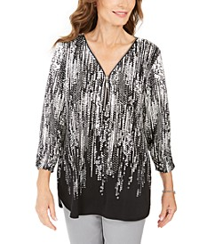 Petite Printed Zip-Neck Top, Created for Macy's