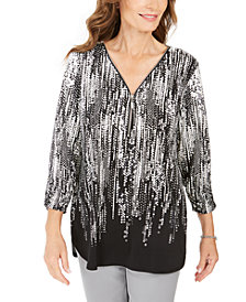 JM Collection Printed Zipper-Neck Tunic, Created For Macy's