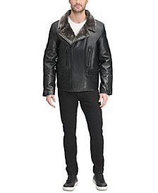 Men's Sherpa Lined Asymmetrical Faux Leather Motorcycle Jacket, Created for Macy's