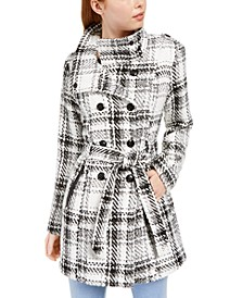 Juniors' Faux-Wool Belted Double Breasted Coat