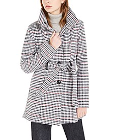 Juniors' Belted Houndstooth Coat