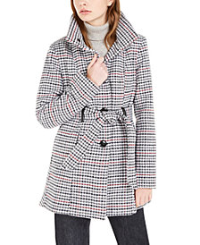 BCX Juniors' Belted Houndstooth Coat