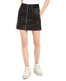 Juniors' Logo-Printed Denim Mini Skirt