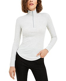 Juniors' Rib-Knit Half-Zip Turtleneck Top