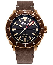 Men's Swiss Automatic Seastrong Diver 300 Brown Leather Strap Watch 44mm