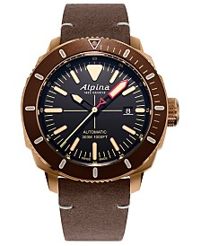 Alpina Men's Swiss Automatic Seastrong Diver 300 Brown Leather Strap Watch 44mm